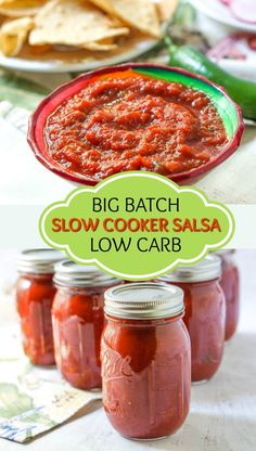 If you are a fan of homemade salsa, this is the best low carb salsa IMO and you make it in the slow cooker. This is a great recipe for making a big batch salsa and canning it for the winter. It's a thick and spicy salsa with a rich tomato flavor. This recipe makes 12 cups and 1/4 cup of salsa has only 3.5g net carbs!