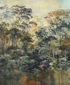 "Eric Roux-Fontaine, Monde nouveau, 2013, Mixed Media On Canvas, 47¼"" x 39¼"" #art #painting #whimsical #axelle #newworld #jungle #lunarpark"