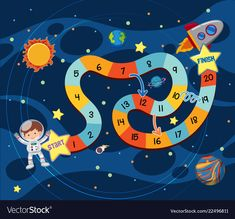 Space exploring board game template vector image on VectorStock Board Game Template, Printable Board Games, Games For Kids, Games To Play, Activities For Kids, Space Party, Space Theme, Space Classroom, Lucas Arts