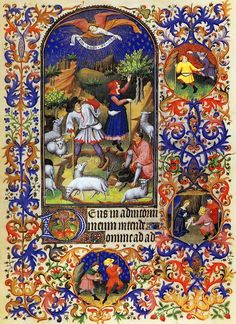 Miniature from an intricately decorated Book of Hours. The shepherds are interrupted amid pastoral activities: a shepherdess is picking fruit from a tree, apparently unaware of the angel's announcement; a shepherd has a shoe half on.