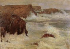 "Wladyslaw Podkowinski ~ ""Rough Sea at Belle-lle"" ~ Huile sur Toile Seascape Paintings, Landscape Paintings, French Impressionist Painters, Oil Painting Gallery, Rough Seas, Pastel, Paul Gauguin, Artist Art, Lovers Art"
