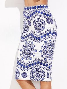 Blue and White Pencil Skirt