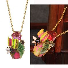 Find More Pendant Necklaces Information about Luxury Flower Insect Gem Necklace For Women Enamel Glaze Copper Gold Plated High Quality Jewelry,High Quality necklace tshirt,China necklace murano Suppliers, Cheap gem necklace from warmhome jewelry on Aliexpress.com