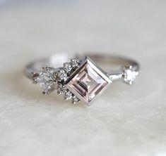 Peach Morganite Diamond Ring, Diamond Cluster Ring with Square Morganite in . - Peach Morganite Diamond Ring, Diamond Cluster Ring with Square Morganite in White Gold Setting, - Diamond Cluster Engagement Ring, Vintage Engagement Rings, Solitaire Diamond, Solitaire Rings, Solitaire Engagement, Morganite Ring, Non Traditional Engagement Rings Vintage, Halo Rings, Pink Diamond Ring