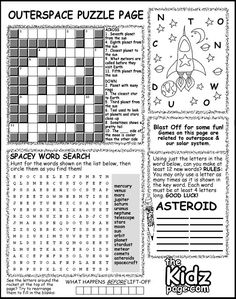 Outer Space Activity Puzzle Page Sheet - Free Coloring Pages for Kids - Printable Colouring Sheets