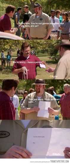 Only funny guy on the show lol Funny Quotes, Funny Memes, Hilarious, Movie Memes, Parks And Recs, Ron Swanson, Lol, Have A Laugh, Parks And Recreation