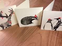 Set of 3 hand screen-printed Christmas cards by KatysPrintShop