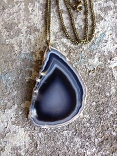 Hand drilled black grey and white agate slice by ArcherPlusHare, $32.00