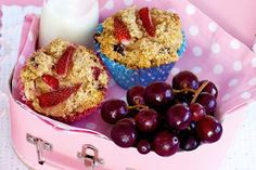 Fragrant fresh strawberries star in this healthy lunchbox treat suitable for kids of all ages! Strawberry Yogurt Muffins, Coconut Muffins, Strawberry Recipes, Lunch Box Recipes, Snack Recipes, Lunchbox Ideas, Bread Recipes, Muffin Recipes, Cookie Recipes