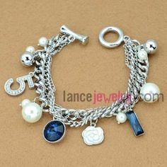 Classic crystal & beads decoration chain link bracelet