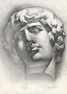 Original drawing Antinous sculpture head graphite by OlgaSternyk, $130.00