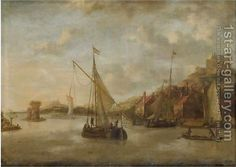 Jacobus Storck:A Dutch Harbour Scene With Sailing Vessels And Other Shipping Near The Coast, With Numerous Figures On The Quayside, A View Of A Castle Beyond