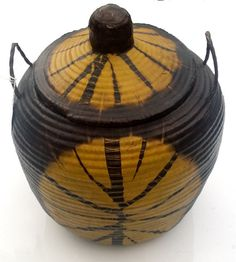 Senegal Tie Dye Leather Bound Basket with Lid Beautiful African basket Senegalese by NaturalandOrganic on Etsy