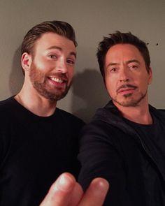 "Chris Evans and Robert Downey Jr. backstage at ""Jimmy Kimmel Live,"" Tues., November 24, 2015."