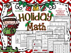 Holiday Math! Over 40 pages of fun and engaging math practice pages, activities and games.