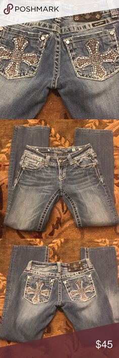 EUC Bootcut Miss Me Jeans Size 26. Inseam is 30 EUC Bling Miss Me Jeans Size 26. Inseam on the tag says 34, but they have been hemmed so now they are actually 30. Bootcut. Bling design. Excellent condition besides a few decorative gems missing on the back pockets. Miss Me Jeans Boot Cut