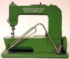 1940 – 1952 Elna 1 Sewing Machine - The first Elna was not given a model number but it became known as the Elna 1 and it was also known affectionately as the Grasshopper. Such was the soundness of its original design that only minor modifications were made during its production life. Early machines incorporated a brake pad on the knee lever which was later dropped. Other changes were the use of a slightly smaller motor resulting in a flat motor cover and changes to the carrying case.