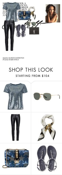 """""""GLITTER"""" by enna-petranovic ❤ liked on Polyvore featuring Zadig & Voltaire, Ray-Ban, Yves Saint Laurent, Givenchy, Valentino and Balenciaga"""