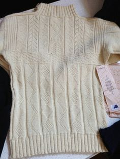 """A traditional """"Gansey"""" hand-knit sweater worn by a Scottish Fisherman, by knitwear designer, Di Gilpin."""