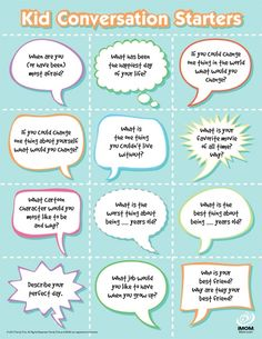 conversation starters, great for the dinner table- promote oral language