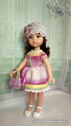 Вязаный комплект с сумочкой для Paola Reina. / Одежда для кукол / Шопик. Продать купить куклу / Бэйбики. Куклы фото. Одежда для кукол