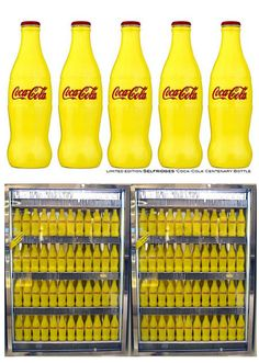 The centenary Coke bottle was made of glass with a bright shade of yellow