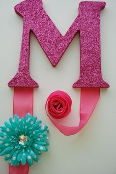 Glitter Letter Girls Hair Bow Holder  initial in by swankystitchs, $20.00