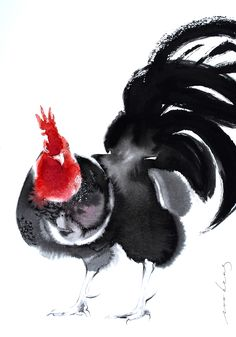 Smart Cockie by Soo Beng Lim Rooster Painting, Rooster Art, Ink Painting, Chicken Painting, Chicken Art, Clown Paintings, Animal Paintings, Chinese Artwork, Chinese Painting