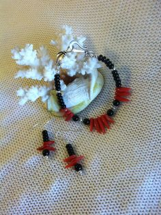 Coral and Onyx Bracelet With Matching Earrings by PamsPawsJewelry