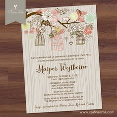 Baby Shower Invitation  Bird Cages & Blooms v2  by ItsAFineTime, $15.00