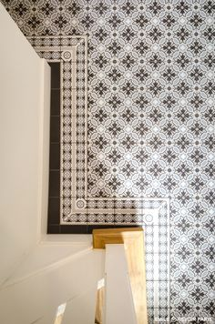 emile tile by Revoir Paris with touquet line and corner Geometric Floor, Style Tile, Hallway Flooring, Victorian Tiles, Contemporary Tile, Tiles, Vintage Interiors, Paris Decor, Tile Patterns