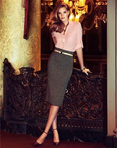The Mercer Soft Shirt and The 7th Avenue Midi Pencil Skirt.