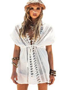 a204de6ed2f Womens Lace Crochet Beach Dress Swimwear Bikini Swimsuit Cover Up Cardigan  - Bc-white - CV12IPCML7L