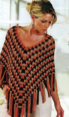 Granny Poncho ranks with black, orange and brown  http://crochet-plaisir.over-blog.com/categorie-12381669.html