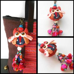 Red Owl Hanging Little Pom Poms Keychain Zip Pull Bag Accessory Decoration by Handmade. (AC1006-RE)