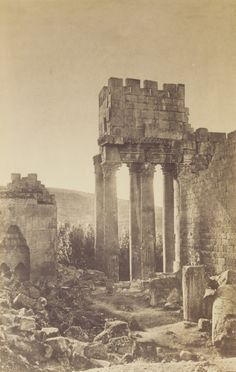 Peristyle, Temple of Bacchus, Baalbek, Lebanon, 1860, photographed by Gustave Le Gray. (Getty Museum)