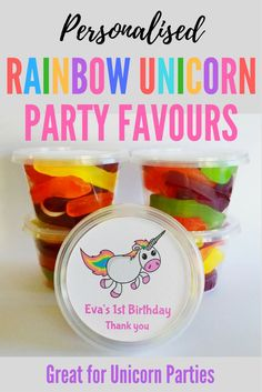Personalised Unicorn Party Favors | Unicorn Party Bags | Tubs to fill with sweet treats for kids parties | Great for Unicorn parties