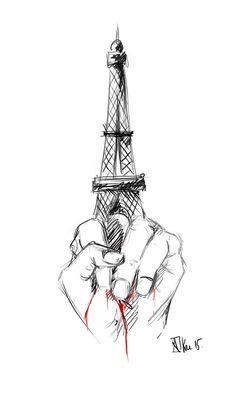 30 Dessins Hommages d'Anonymes et de Professionnels à propos des Attentats de Paris du 13 Novembre