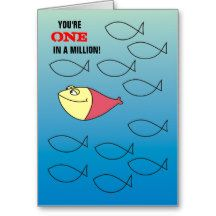 You are ONE in a Million!  Funny Red Fish Card