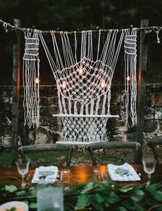 Giant macrame reception backdrop