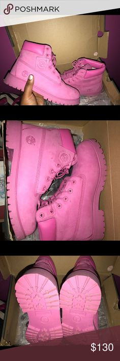 Pink Timberlands These Boots Are waterproof, Best Boots for the winter. Looks great with almost everything!! Only worn once Timberland Shoes Winter & Rain Boots