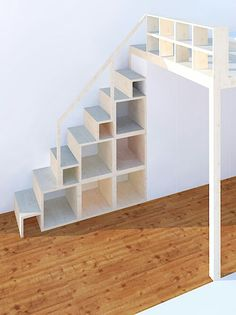 Shelf and stairs for high level and loft bed - neubauen.design, # diy furniture shelf # for # high bed . Shelf and stairs for high level and loft bed - neubauen.design, Shelf and stairs for plateau and loft bed - neubauen. Loft Bed Stairs, Mezzanine Bedroom, Tiny House Stairs, Bunk Beds With Stairs, Bedroom Loft, Mezzanine Loft, Loft Wall, Loft Design, House Design