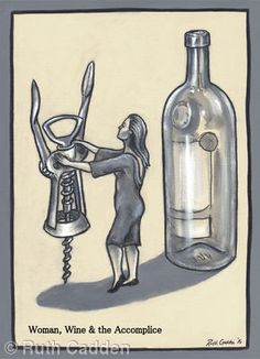 Woman, Wine and the Accomplice - Giclee Print Woman Wine, Giclee Print, Bottle, Gallery, Artist, Artwork, Women, Work Of Art, Roof Rack