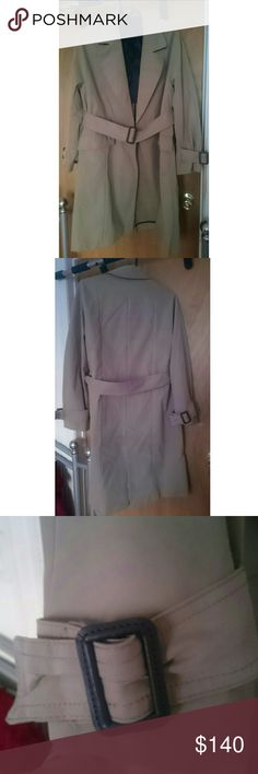 "Like New Zara Long Trench Coat Belted at the waist  No buttons or zippers  Buckle details on the sleeves Flap pockets  Last photo shows true color - mix between tan and khaki 38"" shoulder to hem 23"" sleeves  16"" across shoulders Like new Zara Jackets & Coats"