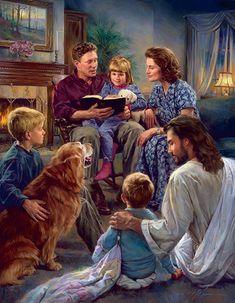 Adoração em família. Óleo sobre tela. Christian Nathan Greene.