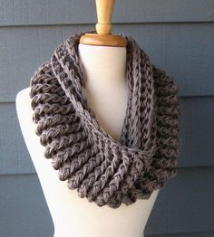 VICKIE - Chunky Infinity Scarf, Cowl, Neckwarmer, Unisex - Greybeard from ArtsyCrochet on Etsy. Saved to Cute Outfits .