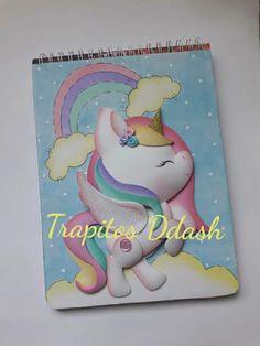 Cuaderno de unicornio 9th Birthday, Unicorn Birthday, Fun Crafts For Kids, Diy And Crafts, School Notebooks, Unicorn Crafts, Back To School Supplies, Decorate Notebook, Notebook Covers