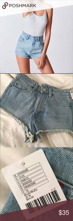 NWT Urban Outfitters high waisted jean shorts Brand new super high waisted size 25 BDG denim shorts from urban outfitters! Literally BRAND NEW, originally $54 but I have 2 pairs of them so selling one. They have all the tags and everything so I'm selling them for $40, but that's still a great deal considering they're $54 😊 Super cute and great for summer! Urban Outfitters Shorts Jean Shorts