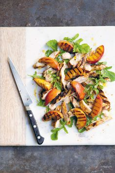 The Pool | Food and home - Grilled peaches and chicken with rocket and kasundi