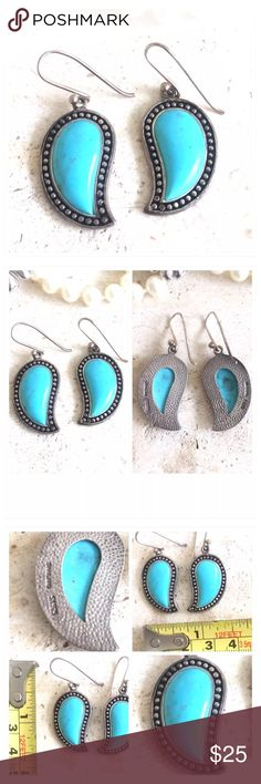 Gorgeous Stamped .925 Silver Turquoise Earrings Gorgeous Stamped .925 Silver & Turquoise Stone Dangle Earrings. Hook backing. Please See Pictures For measurements. All my items are from a smoke free environment. Prices are negotiable. Thank you for stopping by!! Boutique Jewelry Earrings
